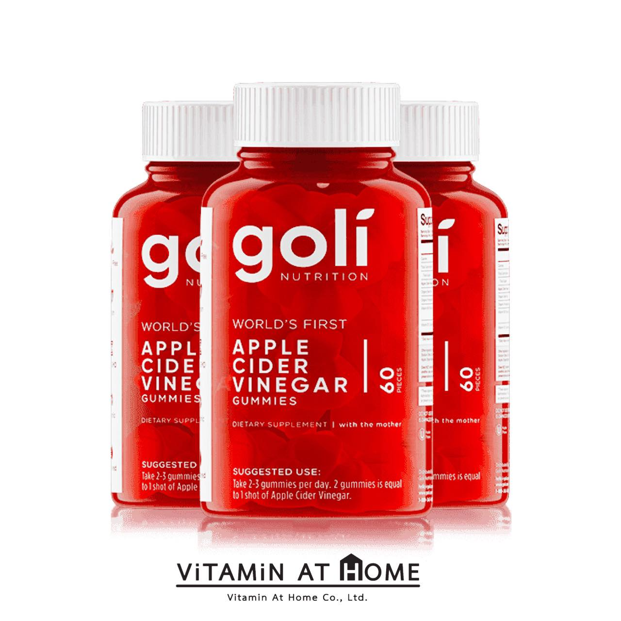 Goli Apple Cider Vinegar Gummies 3 กระปุก (3x60's)